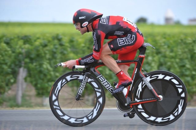 Cadel Evans in the final time trial of 2011 Tour De France